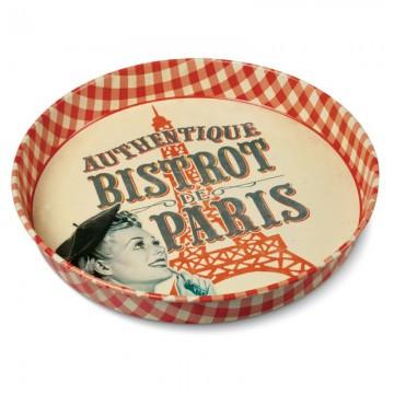 Plateau rond en métal BISTROT DE PARIS Natives déco rétro vintage