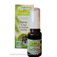 Spray BIO pour gorge saine et Haleine Fraîche Plantes huiles essentielles et propolis Phytofrance