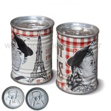 Salière Poivrière mini concerves Bistrot de Paris Natives déco rétro et vintage