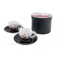 Coffret de 2 tasses à café PARIS 2 CV (deux chevaux) déco rétro