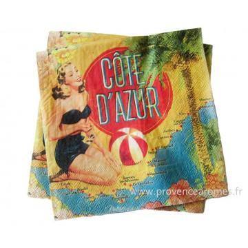 Serviettes en papier CÔTE D'AZUR Natives déco rétro vintage