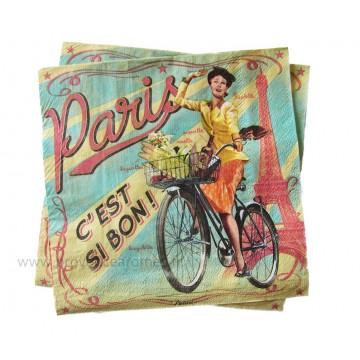 Serviettes en papier PARIS PAULETTE Natives déco rétro vintage