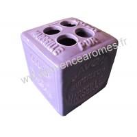 Porte brosses à dents en forme de cube Savon de Marseille couleur Lavande