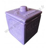 Pot avec couvercle en forme de cube Savon de Marseille couleur Lavande
