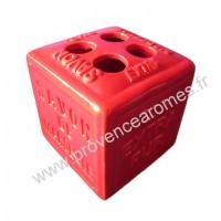 Porte brosses à dents en forme de cube Savon de Marseille couleur Rouge
