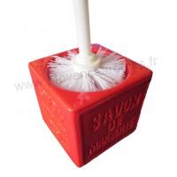 Balayette WC en Cube Savon de Marseille couleur Rouge