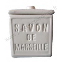 Pot avec couvercle en forme de cube Savon de Marseille couleur Blanc