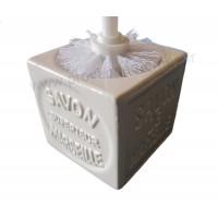 Balayette WC en Cube Savon de Marseille couleur Blanc