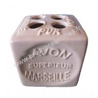 Porte brosses à dents en forme de cube Savon de Marseille couleur Parme Clair