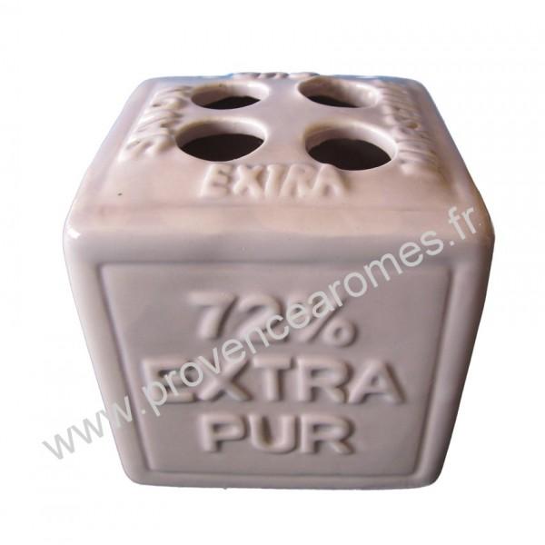 Porte brosses dents en forme de cube savon de marseille - Couleur parme clair ...