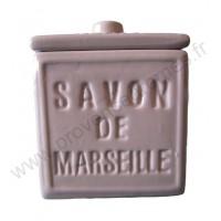 Pot avec couvercle en forme de cube Savon de Marseille couleur Parme Clair