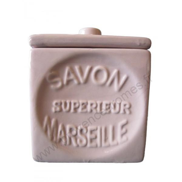 Pot avec couvercle en forme de cube savon de marseille - Couleur parme clair ...