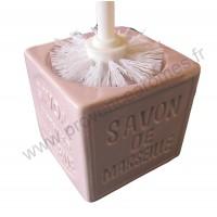 Balayette WC en Cube Savon de Marseille couleur Parme Clair