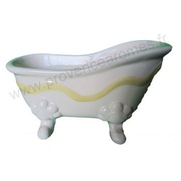 Porte savon céramique PETITE BAIGNOIRE ANCIENNE RUBAN JAUNE