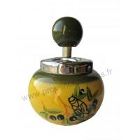 Cendrier céramique à poussoir déco CIGALE peint à la main
