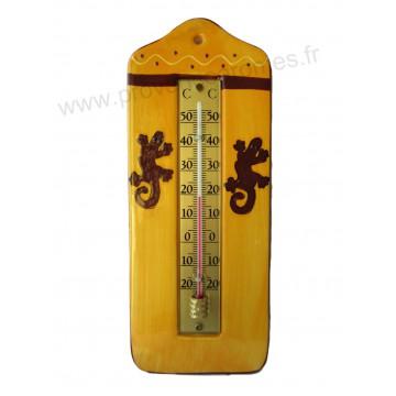 Thermomètre mural en céramique déco GECKO SALAMANDRE