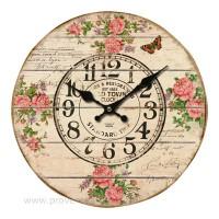 Horloge ROSES PAPILLON déco rétro de charme
