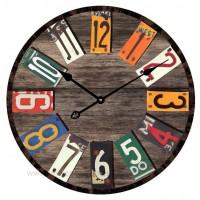 Horloge en verre Chiffres Plaques couleurs déco rétro