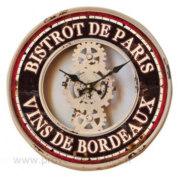 Horloge Rouage en métal BISTROT DE PARIS déco rétro