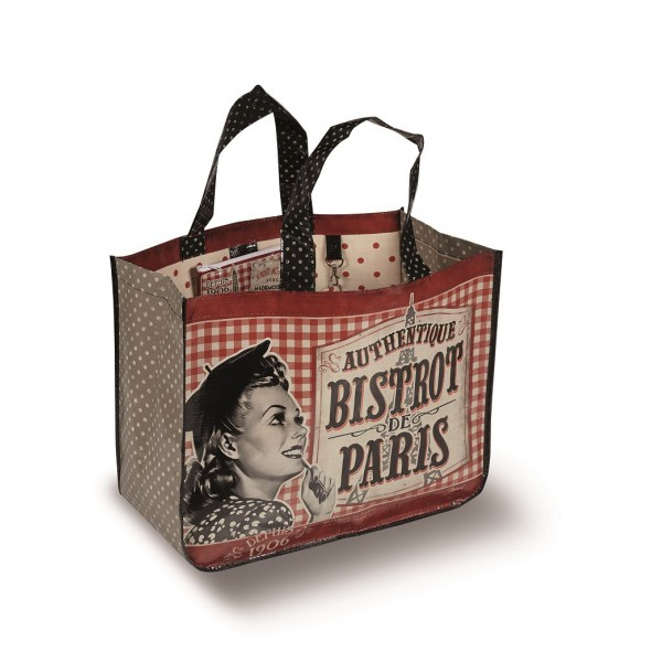 sac cabas bistrot de paris natives d co r tro et vintage. Black Bedroom Furniture Sets. Home Design Ideas