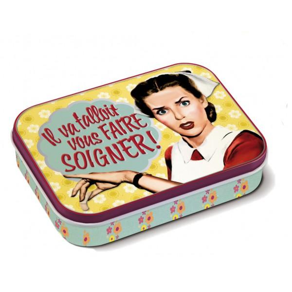 Bo te de pansements infirmi re natives d co r tro vintage humoristique provence ar mes - Dessin infirmiere humoristique ...