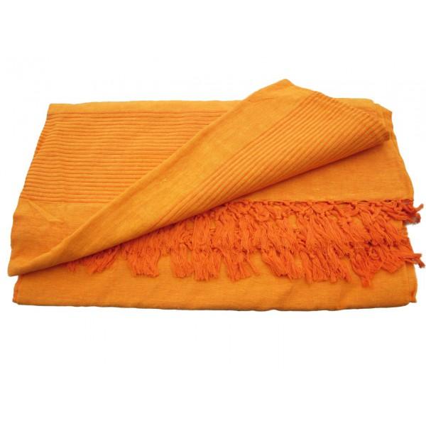 Grande Tenture Kérala Plaid couvre lit orange   Provence Arômes