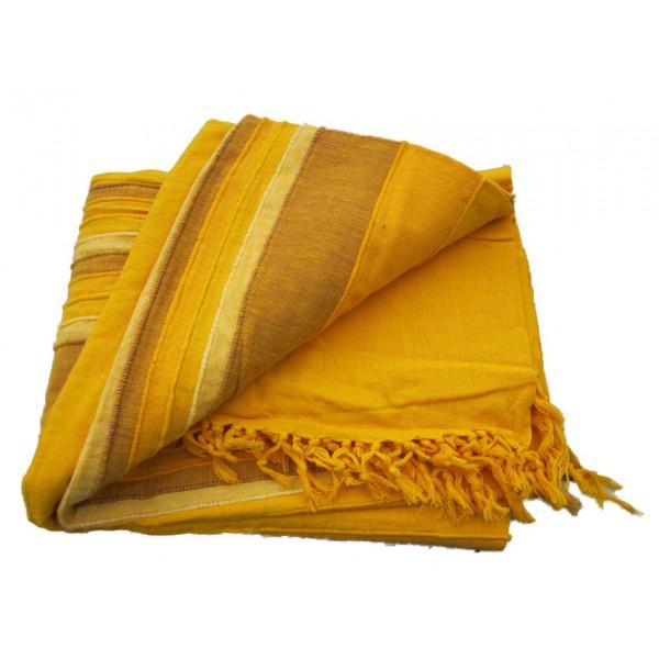 Tenture Kérala plaid couvre lit Jaune Ocre Curry   Provence Arômes