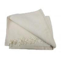 Tenture Kérala plaid couvre-lit unie beige clair crème