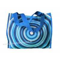 Sac Cabas motif Cercles psychédéliques seventies Bleu vintage Lara Ethnics