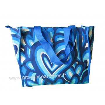 Sac Cabas motif Coeurs psychédéliques seventies Bleu vintage Lara Ethnics
