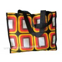 Sac Cabas motif grands carrés psychédéliques seventies Orange Rouge Noir vintage Lara Ethnics