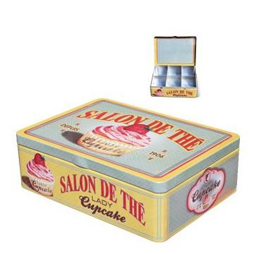 """Boîte à thé 6 compartiments """" Lady Cupcake """" Natives déco rétro vintage"""
