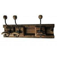 Porte manteau mural bois et métal 3 patères doubles coulissantes