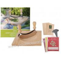 coffret Hachoir Planche à découper en bois et kit de semence plantes aromatiques