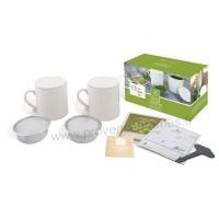 Coffret 2 Mugs en céramique passoire, couvercle et Kit de culture pour menthe fraîche