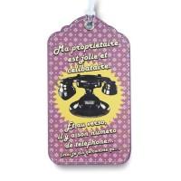 Porte-étiquette Téléphone Jolie Fille Natives déco rétro et vintage