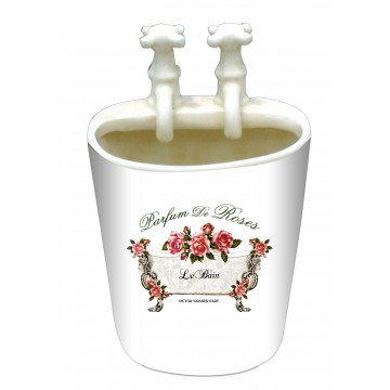 Pot salle de bain petit lavabo avec robinets décoration PARFUM DE ROSES