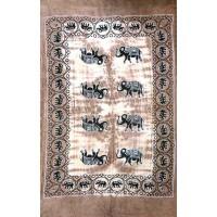 Tenture motif 8 Elephants Tenture brun beige à franges 100 x 160 cm