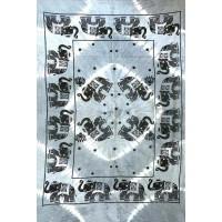 Tenture motif Elephants Tenture noire gris à franges 100 x 160 cm