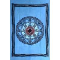 Tenture déco Mandala Tenture bleue à franges 100 x 160 cm