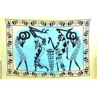 Tenture africaine danseur et jumbé Tenture à franges nuance de Bleu vert 100 x 160 cm
