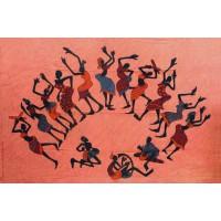 Tenture motif Danse Africaine Tenture rouille à franges 100 x 160 cm
