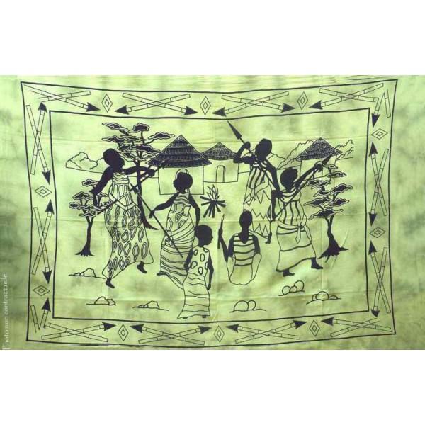 tenture motif village africain tenture franges nuance de vert 100 x 160 cm provence ar mes. Black Bedroom Furniture Sets. Home Design Ideas