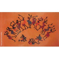 Tenture déco danse Africaine Tenture orange à franges 100 x 160 cm