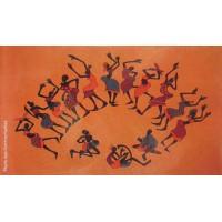 Tenture motif Danse Africaine Tenture Orange à franges 100 x 160 cm