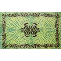 Tenture motif Tribal Tenture verte à franges 100 x 160 cm