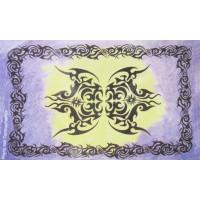 Tenture Tribale Tenture verte jaune mauve à franges 100 x 160 cm