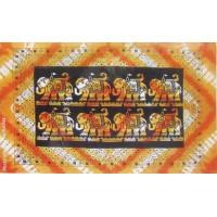 Tenture 8 éléphants Tenture noire orange à franges 100 x 160 cm