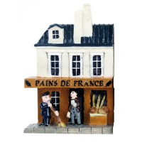 Magnet Boulangerie Pains de France Maget en relief mini maison