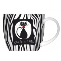 Mug Chat noir et blanc CAT CHIC déco vintage